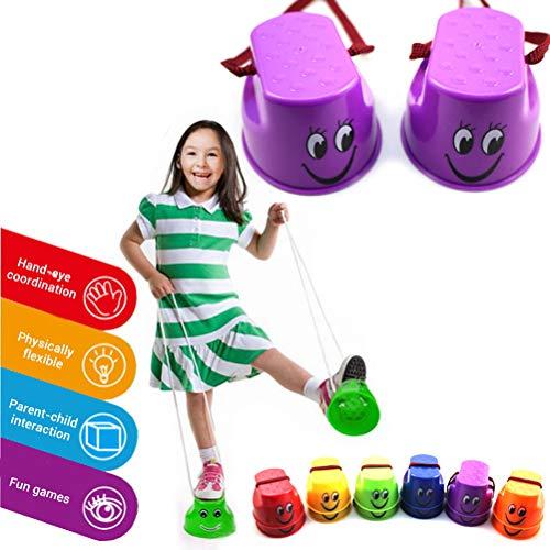 Daxoon Kinder Topfstelzen Laufstelzen 2 Paar Becherstelzen für Balance Training Spielzeug(zufällige Farben)