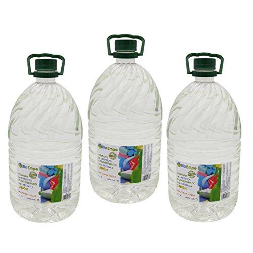 Bioempe Vinagre de limpieza concentrado profesional al 10%, con aroma a limón, Pack de 3 garrafas de 5 litros