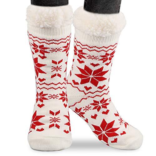 Magicfun Calcetines de Lana Mujeres, Super Gruesa Suave C¨®Modo Calcetines de Lana Gruesa de Invierno Casa Abrigados Calcetines de Mujeres (White)