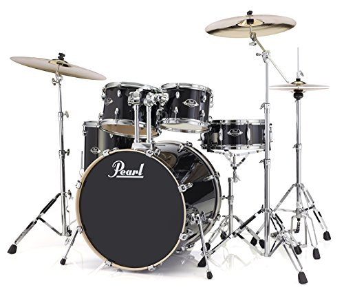 Pearl Export Lacquer EXL725SP/C248 5-Piece New Fusion Drum Set with Hardware, Black Smoke