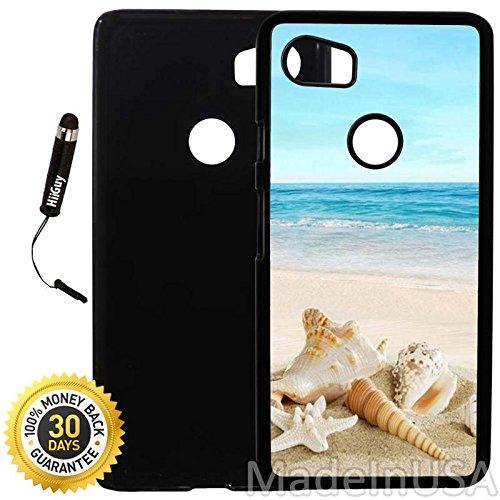 Custom Google Pixel 2XL Case (Ocean Theme Starfish and Seashell On Beach) Plastic Black Cover Ultra Slim | Lightweight | Includes Stylus Pen by Innosub