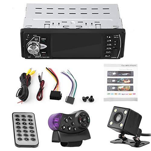 Qiilu Car MP5, 4.1 Pulgadas HD Manos Libres Bluetooth Car MP5 Player Reproducción de Video Radio FM Tarjeta de Memoria AUX Control Remoto USB con cámara Reproductor de Video automático