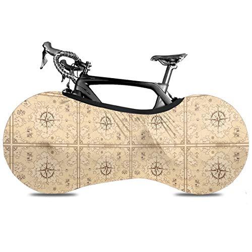 Bate Halloween gótico portátil cubierta de bicicleta interior anti polvo alta elástica cubierta de rueda de bicicleta protectora Rip Stop neumático carretera mtb bolsa de almacenamiento, Mapa del tesoro vintage, talla única