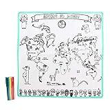 Créateur de génie- Tapis Carte du Monde à Colorier Feutres, EC4042, Blanc