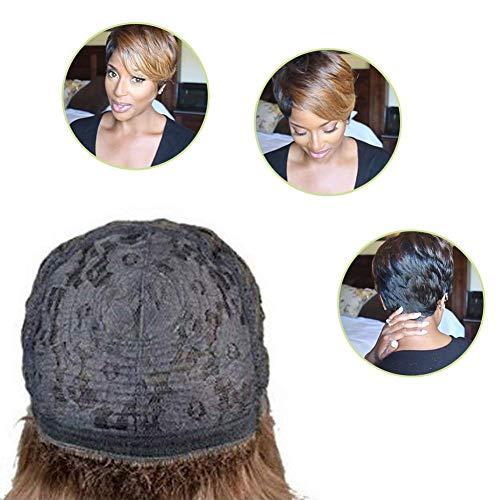 Perruque courte pour les femmes noires, Europe et Amérique Style perruque courte Pixie Cut avec Oblique Bangs Fashion Natural Women Synthetic Gradient Short Wig