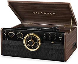 Victrola 6-in-1 Wood Bluetooth Mid Century Record Player with 3-Speed Turntable, CD, Cassette Player and Radio (Renewed)