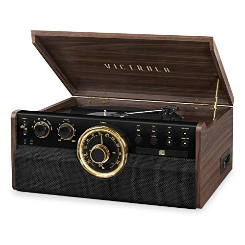 Victrola 7-in-1 Wood Bluetooth Mid Century Record Player with 3-Speed Turntable, CD, Cassette Player and Radio (Renewed)