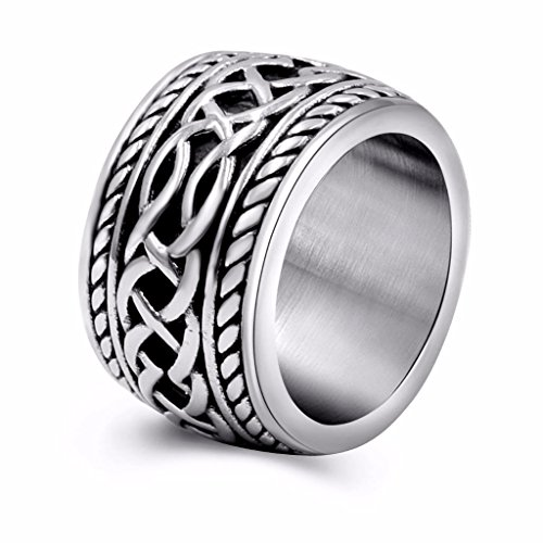 Men's Vintage Stainless Steel Celtic Wedding Bands Prime Wide Band Ring for Men US Size 15