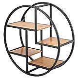 Yencoly Metall-Wandregal, Industrial Style Holz Eisen Handwerk Runde Wandregal...