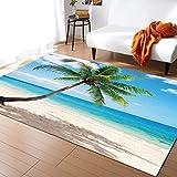 Fantasy Staring Area Rugs for Living Room & Bedroom, Palm Trees Tropical Summer Season Non-Slip Modern Carpet Children Playroom Soft Carpet Floor Mat Home Decor 2' x 3'