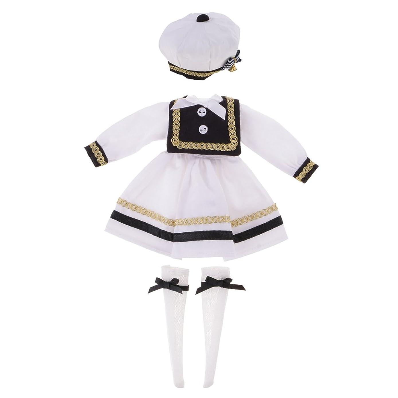 オフ便利影響ドール衣装 ドレス ハット ストッキング 装飾アクセサリー 学生用ドレス 服セット 1/6ブライスドールのため