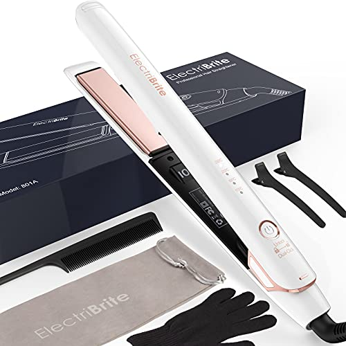 Hair Straightener,Flat Iron 2 in 1 Straightener Curler with 3D Floating Plates Curling Iron with 4 Adjustable Temperature Suitable for All Hair Types (White)