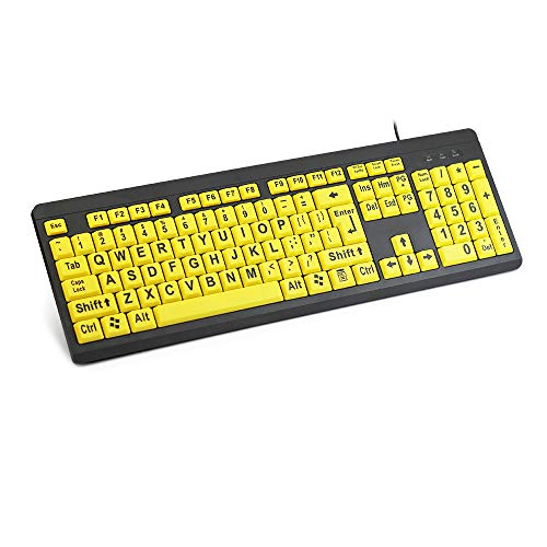 Puyong USB Wired Keyboard with Big Letters And Bright Yellow Keycaps,Easy To Identify for Elders/Kids,Big Font Keyboard for PC/Desktops/Laptops