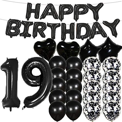 Sweet 19th Birthday Decorations Party Supplies,Black Number 19 Balloons,19th Foil Mylar Balloons Latex Balloon Decoration,Great 19th Birthday Gifts for Girls,Women,Men,Photo Props