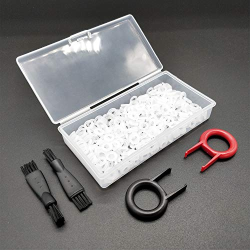 250 Stück dicke 2 mm Gummi-O-Ring-Dämpfer O-Ring-Dichtung für Cherry MX Schalter und mechanische Tastatur, mit 2 Tastaturabziehern, Tastenkappen-Entfernungswerkzeug und 2 Reinigungsbürsten.