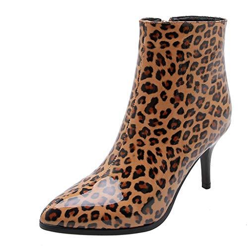 LSAltd Frauen Arbeiten reizvolle Leopard-Druck-Mittler-verfolgte Reißverschluss-Aufladungen beiläufige Bequeme im Freien einzelne Schuhe um