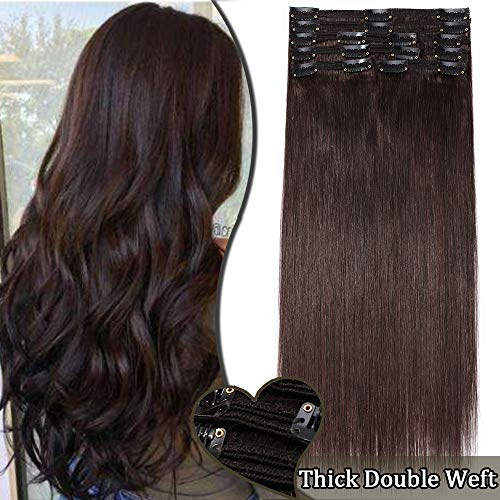 Clip in Hair Extension Human Hair - Double Weft Real Remy Hair Full Head...
