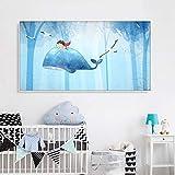 Pintura sin Marco Ballena Azul Pintura de Lienzo de Dibujos Animados Lindo para Sala de Estar niños habitación de bebé póster decoración del hogarZGQ4646 60X90cm