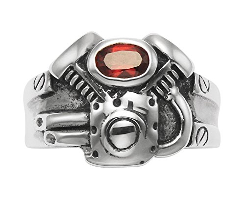 Wild Things Oxidized Sterling Silver Motorcycle Engine Ring with Red Crystal Breather Cover (11)