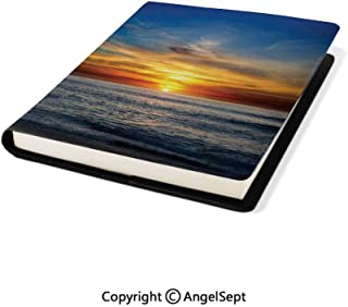 Microfiber Leather Book Cover,Sunset Over The Pacific Ocean from La Jolla California Sunlight Colored Sky Photo Orange Blue,9