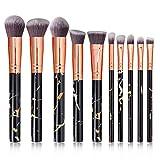 Marbling pincel de maquillaje profesional for Labios Polvos Base Líquido de sombra de ojos 10 pedazos/sistema de cepillos del maquillaje de belleza Herramientas (Color : Negro)