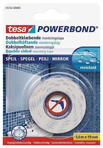 tesa doppelseitiges Montageband Powerbond SPIEGEL, 1,5m x 19mm