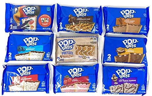 Pop Tarts Breakfast Toaster Pastries Variety Pack of 9 Flavors (1 of each, total of 9)