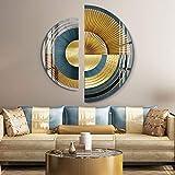 ZHQHYQHHX Moderno Abstracto Semicircular Cristal Porcelana Pintura Frameless Lujo Arte 2pcs/set Pintura colgante