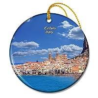 イタリアチェファルシチリアクリスマスオーナメントセラミックシート旅行お土産ギフト