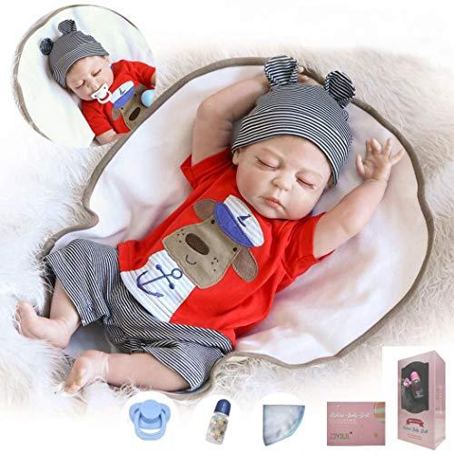 ZIYIUI Reborn Babypuppe 20 Zoll 50 Cm Ganzkörper Silikon Vinyl Junge Puppe Reborn Baby Puppe Lebensechte Baby Neugeborenen Jungen Puppe Kinder