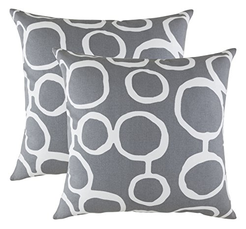 TreeWool (Pack of 2 Decorative Throw Pillow Covers Ringo Accent 100% Cotton Cushion Shams Cases (16 x 16 Inches / 40 x 40 cm; Graphite Grey)
