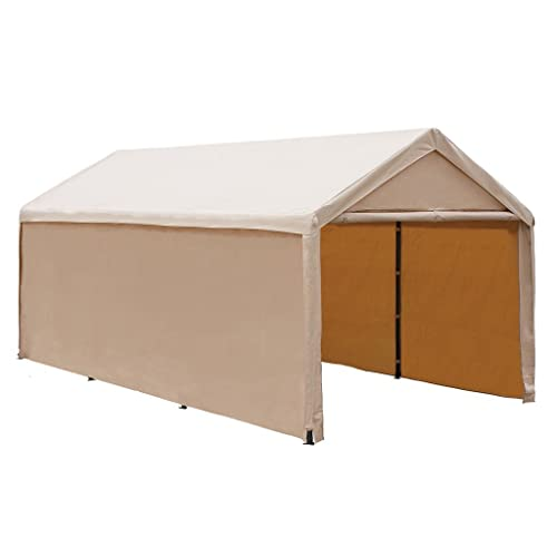 Abba Patio Extra Large Heavy Duty Carport with Removable Sidewalls Portable Garage Car Canopy Boat Shelter Tent for Party, Wedding, Garden Storage Shed 8 Legs, 10 x 20 Feet,Beige