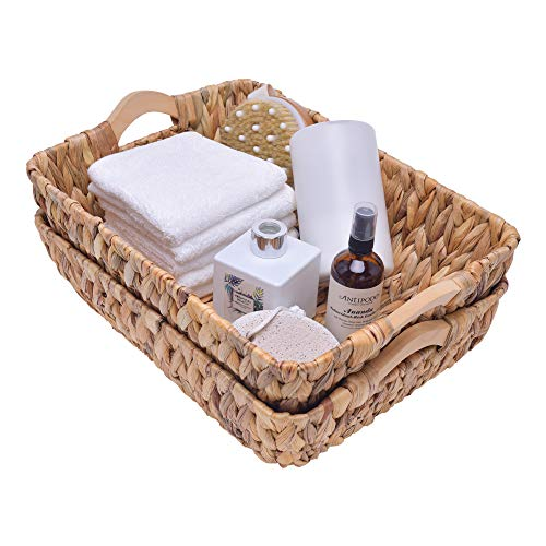 """StorageWorks Hand-Woven Large Storage Baskets with Wooden Handles, Water Hyacinth Wicker Baskets for Organizing, 15"""" x 10.6"""" x 5.3"""", 2-Pack"""
