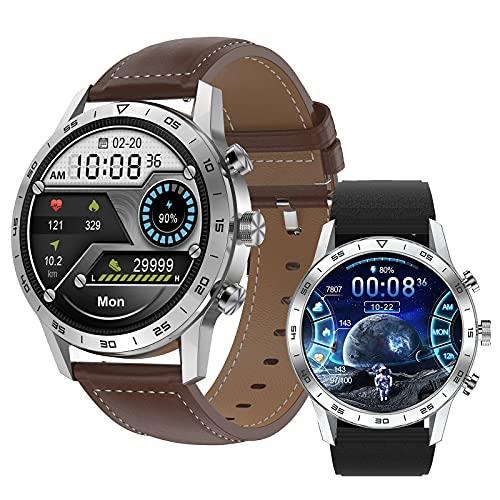 Smartwatch, Pantalla 1.39' Reloj inteligente, Reloj Deportivo para Hombre, Pulsera Actividad con Llamada Bluetooth, Monitor de Sueño Pulsómetro Podómetro, Notificación, Impermeable IP68 ,Marrón