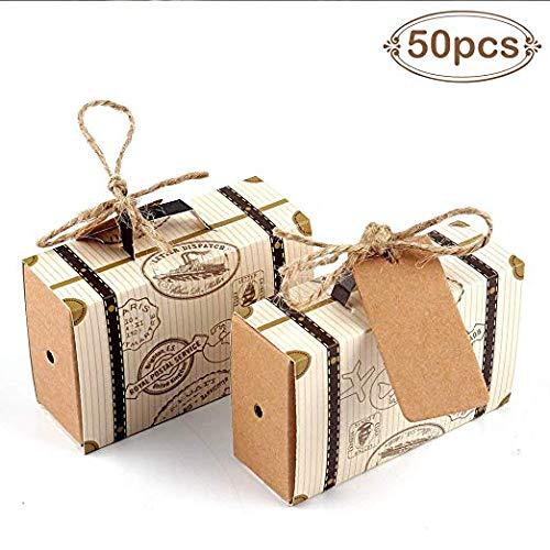 Lote de 50 Cajas para Detalles de Boda Maleta + 50 Pcs Etiquetas Kraft Vintage - Cajitas Originales Travel Viaje para Regalos y Detalles de Bodas, Caramelos, Bombones