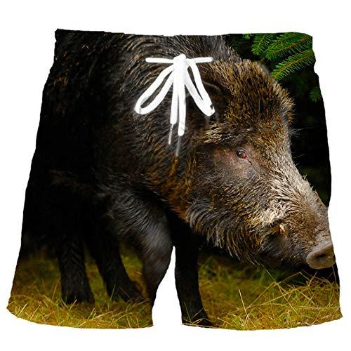 Fashion Wild Animal Boar Impresión 3D Hombres Deportes Pantalón de Verano Ocio de Verano Hip Hop Pantalones Cortos de Playa