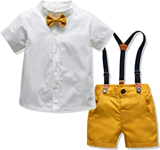 Baby Boys Short Sleeve Gentleman Bowtie Overalls Outfit Suits Set