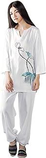 KSUA Womens Tai Chi Uniform Zen Meditation Suit Chinese Kung Fu Clothing Cotton Yoga Suit