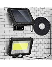 Solar Sensor Security Light, 2400mAh 100 LED Ultra Bright Waterproof Outdoor Wall Lamp with 5m/16.4 ft Cord for Garden, Fence, Door, Yard or Entrance Use