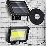 Solar Lights Outdoor Motion Sensor, 100LED Ultra Bright IP65 Waterproof Human Body Induction Solar Powered Wall Lamp, Adjustable 5 m/ 16.4 ft Cord Solar Panel Security Lights for Garden Garage