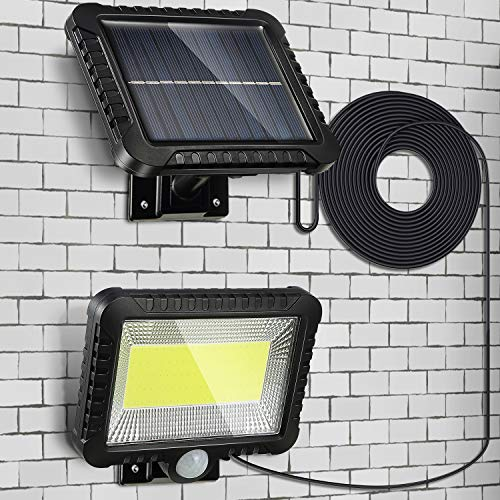 Solar Sensor Security Light, 56 LED Ultra Bright Waterproof Outdoor Wall Lamp with 16.4 ft Cord for Garden, Fence, Door, Yard or Entrance Use