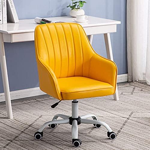Renovation House Leder Boss Chair Drehbarer Bürostuhl aus Leder mit mittlerer Rückenlehne mit Rädern Höhenverstellbar Moderne Executive Home Computerstühle mit Armlehnen für kleine Räume Wohnzimmer