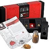 Italienische Kräuter – MeinGenuss – Gewürzset Italia – Das perfekte Geschenkset für Geniesser – Originelles Geschenk für Fans der italienischen Küche – 5 Gewürze und Kräuter mit Rezepten