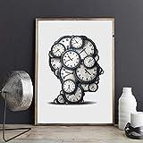 Geiqianjiumai Concepto de Tiempo Cartel de Pensamiento impresión de Arte Reloj Objeto Abstracto presión Plazo Imagen Lienzo decoración Moderna Pintura sin Marco 30x40 cm