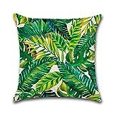 XGBDTJ Joybuy Funda De Almohada De Casual Chic Lino De Algodón De Estilo De Planta Tropical 18 X 18 Pulgadas Lino De Algodón 01 18 X18 (Color : 7, Size : Size)