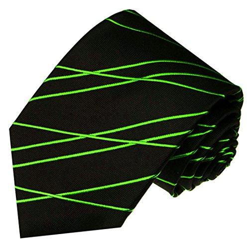 Lorenzo Cana - Marken Krawatte aus 100{5202f1c5c0d21af184d1ba83c21f1c5a12b5cf74713d4fa1efce7748389805a1} Seide Schwarz Grün Assymetrisch Streifen Zickzack Muster - 84567