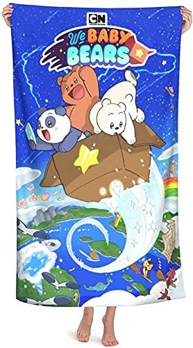 Toallas de playa súper suaves We Bare Bears, toalla de baño We Bare Bears, toallas de baño de microfibra absorbente anime para niños, accesorios de baño Disne-y Home (A4,80 cm x 130 cm)