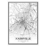 USA TN Nashville Schwarz-Weiß minimalistische Kunst 20 ×