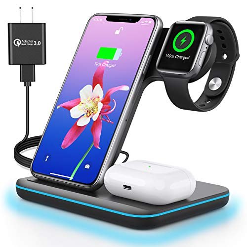 Wireless Charging Station 3 in 1 Wireless Charger for Apple iPhone Watch Airpods,Mildily Charging Dock Stand for iWatch SE/6/5/4/3/2/1,AirPods Pro/2, iPhone 12 11 Series/XS MAX/XR/XS/X/8/8 Plus