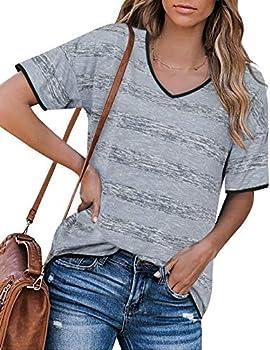 Messic V Neck Short Sleeve Striped Womens T-Shirt
